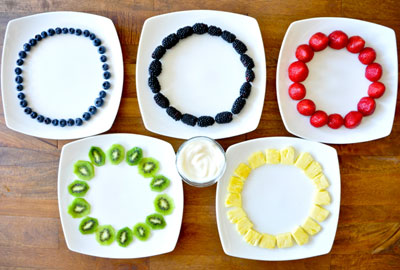 Olympic rings made out of fruit